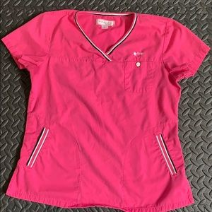 Koi pink scrub top size s